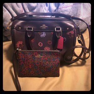 Coach handbag and matching wristlet.